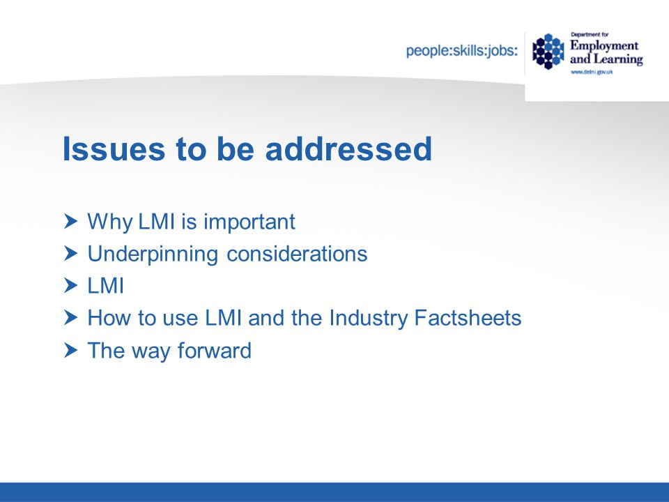Issues to be addressed  Why LMI is important  Underpinning considerations  LMI  How to use LMI and the Industry Factsheets  The way forward