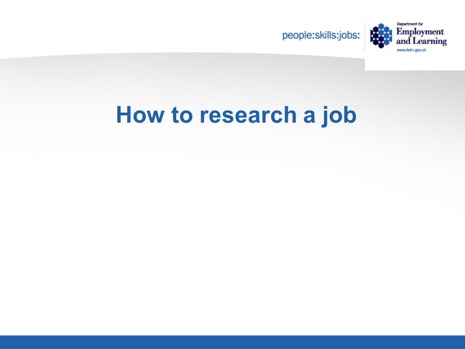 How to research a job