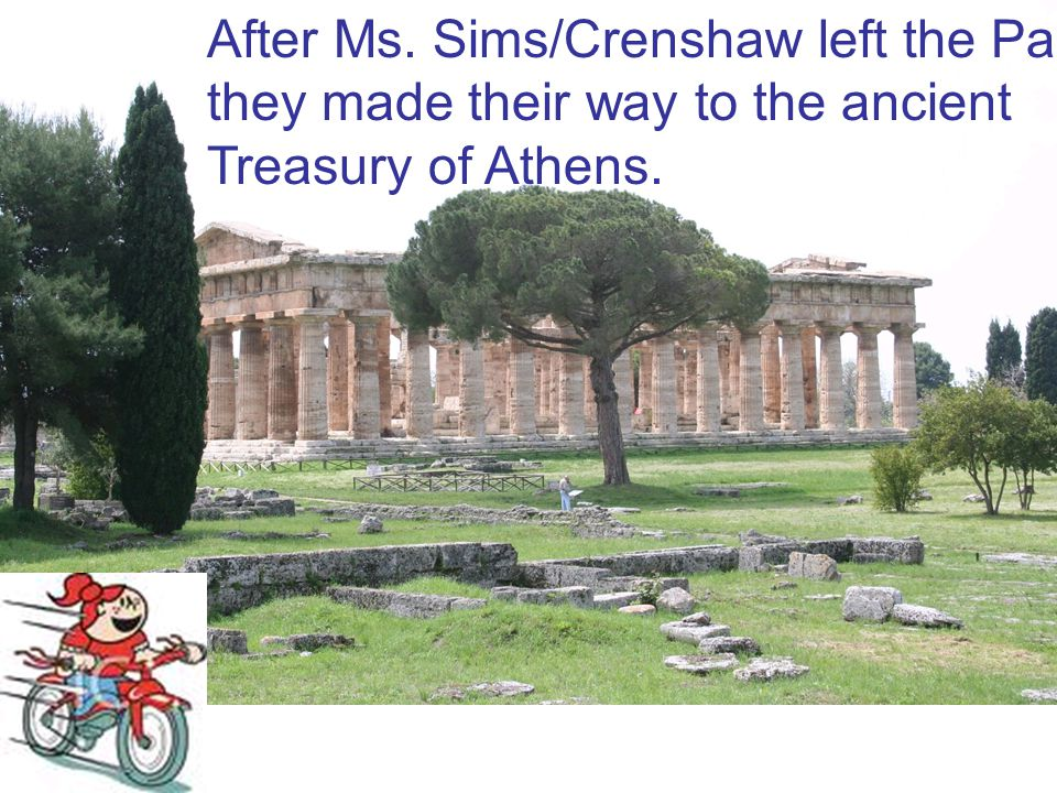 After Ms. Sims/Crenshaw left the Parthenon, they made their way to the ancient Treasury of Athens.