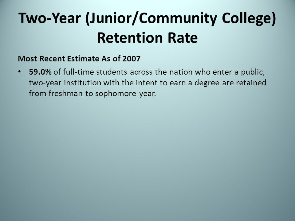 Two-Year (Junior/Community College) Retention Rate Most Recent Estimate As of 2007 59.0% of full-time students across the nation who enter a public, t