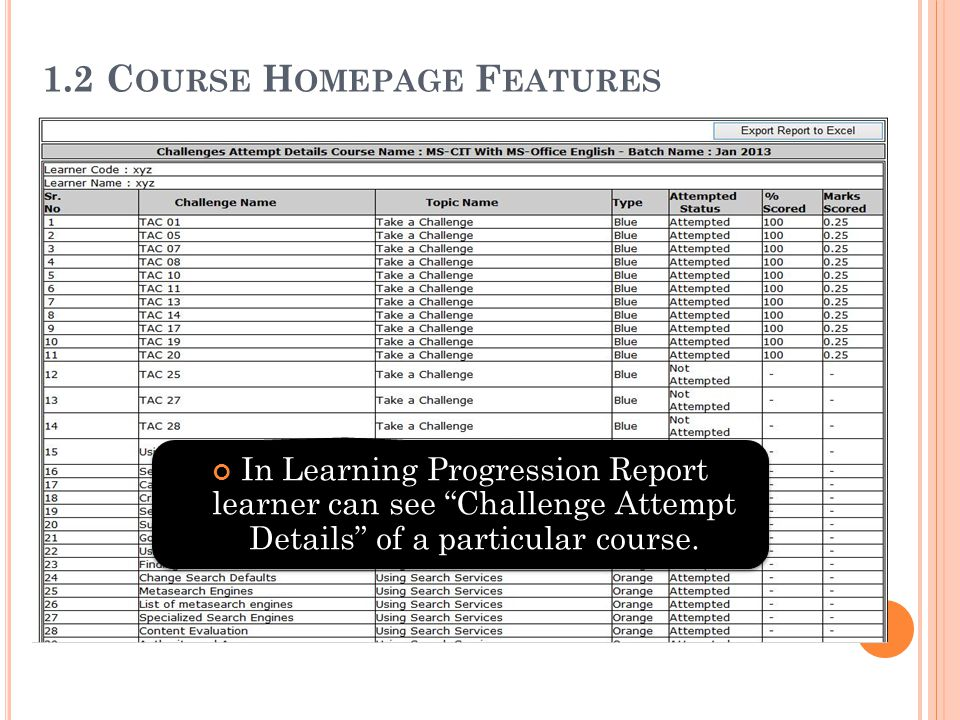 """1.2 C OURSE H OMEPAGE F EATURES In Learning Progression Report learner can see """"Challenge Attempt Details"""" of a particular course."""
