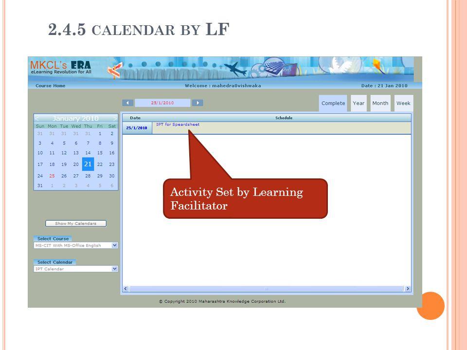 Activity Set by Learning Facilitator 2.4.5 CALENDAR BY LF