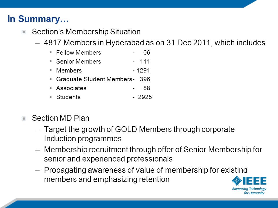 Section's Membership Situation –4817 Members in Hyderabad as on 31 Dec 2011, which includes  Fellow Members- 06  Senior Members- 111  Members- 1291
