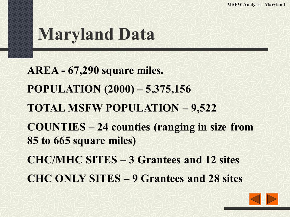Maryland Data AREA - 67,290 square miles.