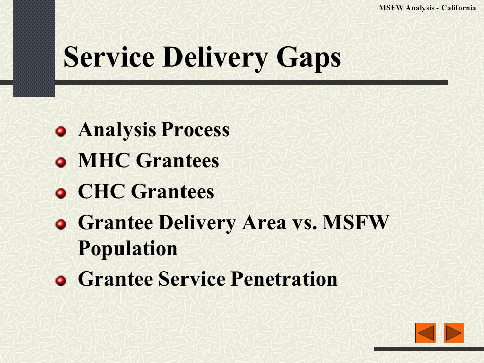 Service Delivery Gaps Analysis Process MHC Grantees CHC Grantees Grantee Delivery Area vs.