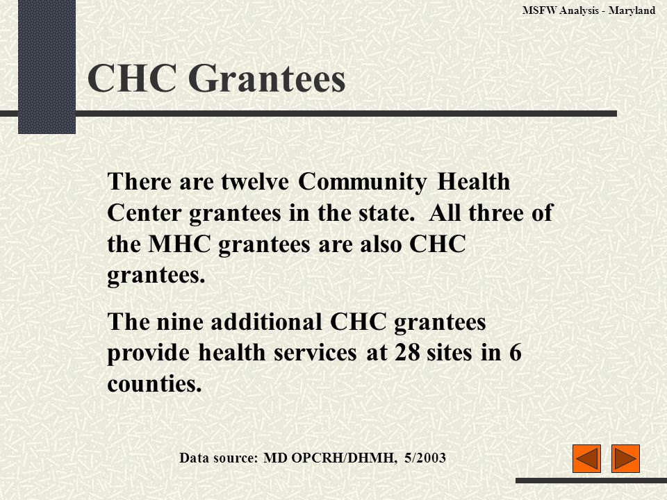 CHC Grantees There are twelve Community Health Center grantees in the state. All three of the MHC grantees are also CHC grantees. The nine additional
