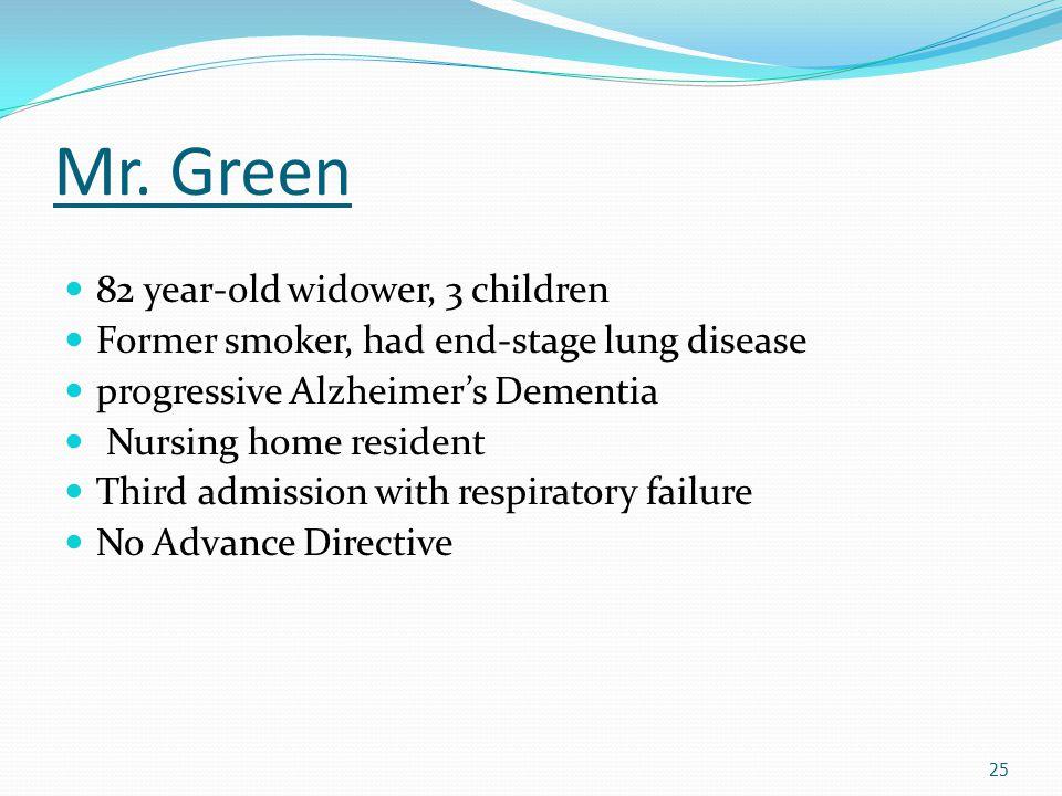 Mr. Green 82 year-old widower, 3 children Former smoker, had end-stage lung disease progressive Alzheimer's Dementia Nursing home resident Third admis
