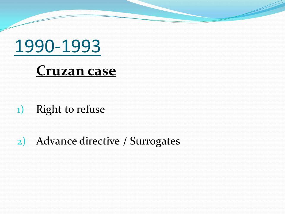 1990-1993 Cruzan case 1) Right to refuse 2) Advance directive / Surrogates