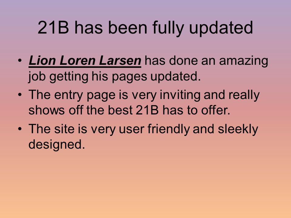 21B has been fully updated Lion Loren Larsen has done an amazing job getting his pages updated.