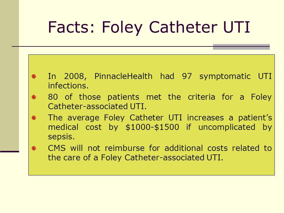 Facts: Foley Catheter UTI In 2008, PinnacleHealth had 97 symptomatic UTI infections.
