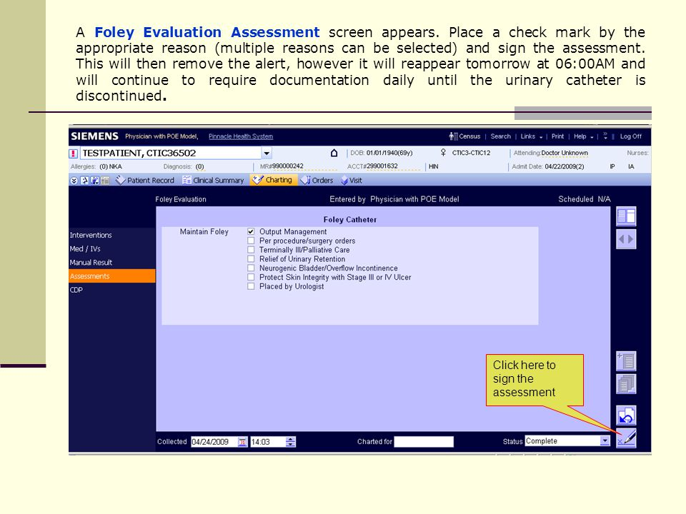 A Foley Evaluation Assessment screen appears.