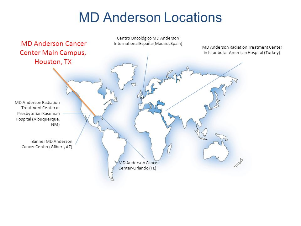MD Anderson Locations MD Anderson Radiation Treatment Center in Istanbul at American Hospital (Turkey) Centro Oncológico MD Anderson International España (Madrid, Spain) MD Anderson Radiation Treatment Center at Presbyterian Kaseman Hospital (Albuquerque, NM) MD Anderson Cancer Center-Orlando (FL) Banner MD Anderson Cancer Center (Gilbert, AZ) MD Anderson Cancer Center Main Campus, Houston, TX
