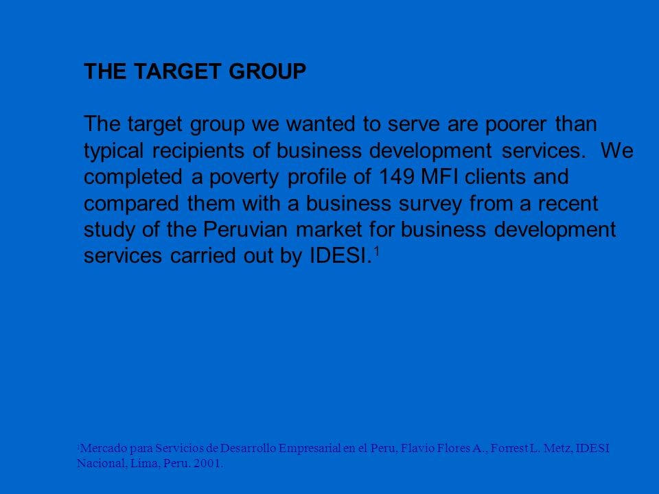 THE TARGET GROUP The target group we wanted to serve are poorer than typical recipients of business development services.