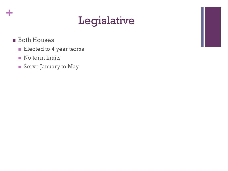 + Legislative Both Houses Elected to 4 year terms No term limits Serve January to May
