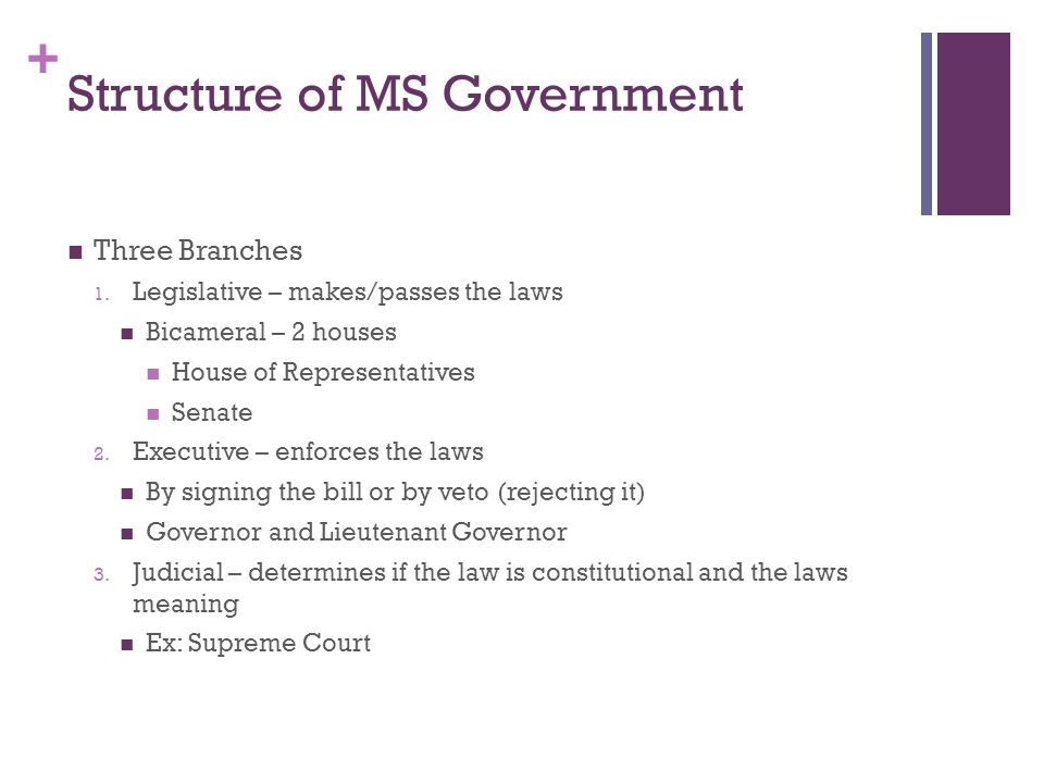 + Structure of MS Government Checks and Balances – a system to ensure that one branch does not have more power than another No one can serve in more than one branch at the same time