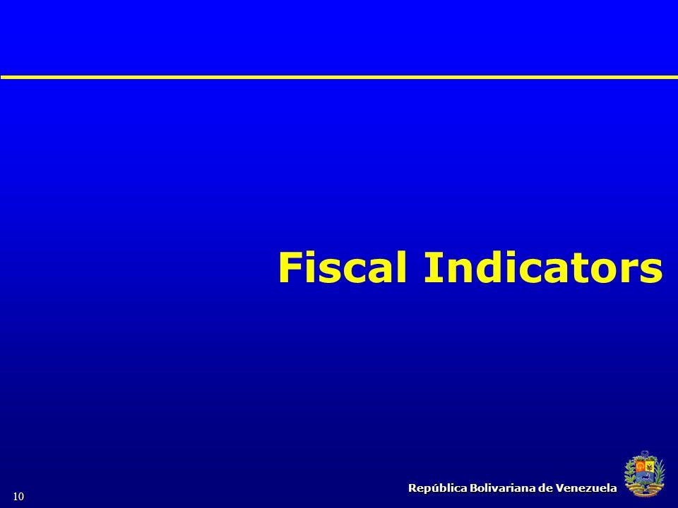 República Bolivariana de Venezuela 10 Fiscal Indicators