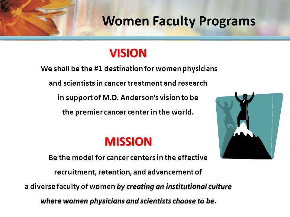 Associate Vice President appointed November 2006 February 2009 February 2007 WFP office doors opened WFP Office open for 2 years Women Faculty Programs …partnering with leadership and faculty to create a culture where women physicians and scientists choose to be…