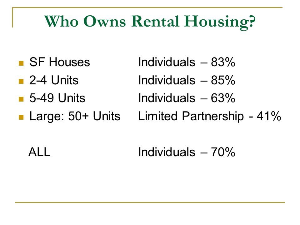 Who Owns Rental Housing.