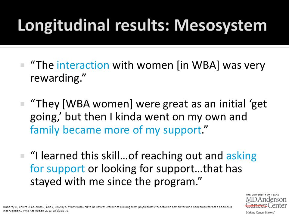 " ""The interaction with women [in WBA] was very rewarding.""  ""They [WBA women] were great as an initial 'get going,' but then I kinda went on my own"