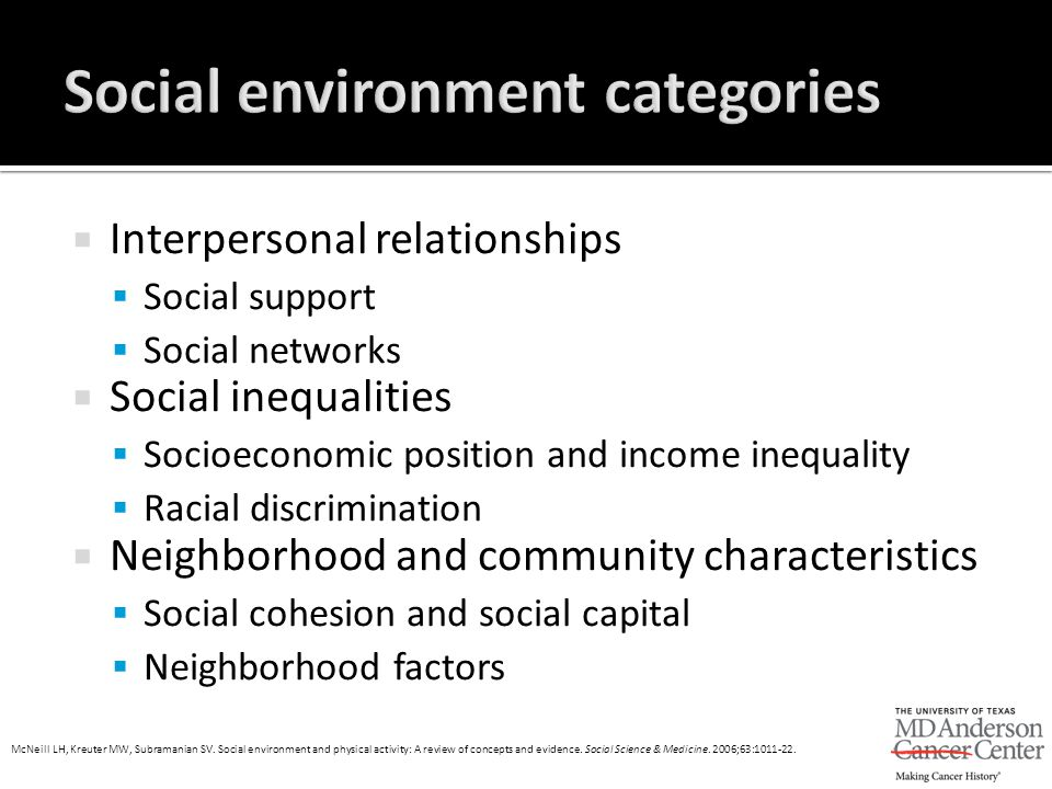 Interpersonal relationships  Social support  Social networks  Social inequalities  Socioeconomic position and income inequality  Racial discrim