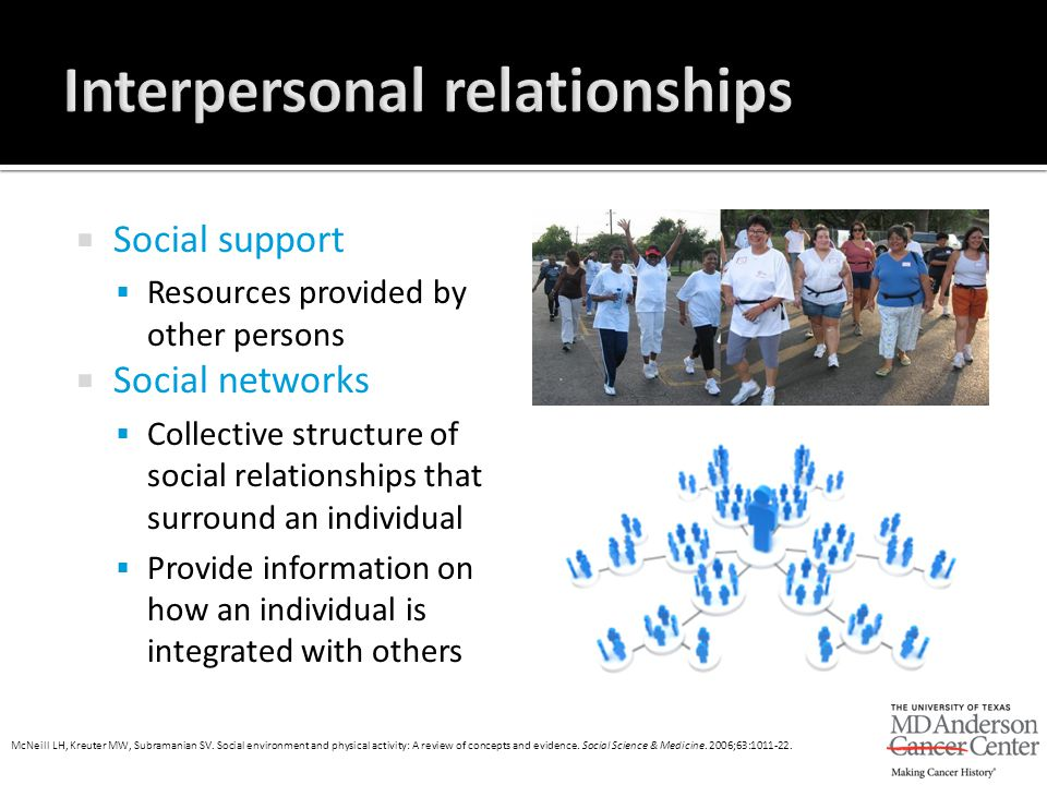  Social support  Resources provided by other persons  Social networks  Collective structure of social relationships that surround an individual 