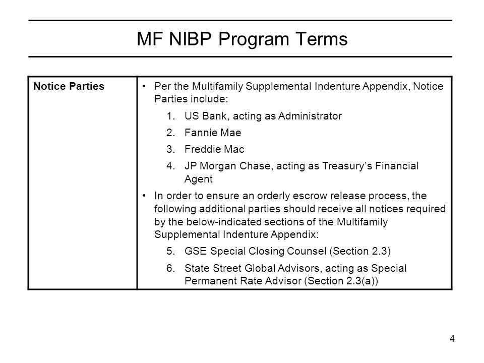 4 MF NIBP Program Terms Notice PartiesPer the Multifamily Supplemental Indenture Appendix, Notice Parties include: 1.US Bank, acting as Administrator