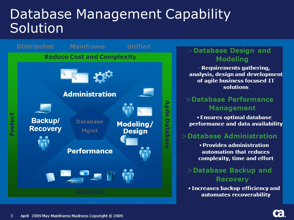 ® 3April 2009 May Mainframe Madness Copyright © 2009 >Database Design and Modeling  Requirements gathering, analysis, design and development of agile business focused IT solutions >Database Performance Management  Ensures optimal database performance and data availability >Database Administration  Provides administration automation that reduces complexity, time and effort >Database Backup and Recovery  Increases backup efficiency and automates recoverability Database Management Capability Solution Performance Administration Modeling/ Design Backup/ Recovery Optimize Reduce Cost and Complexity Agile Database Protect Database Mgmt DistributedMainframeUnified