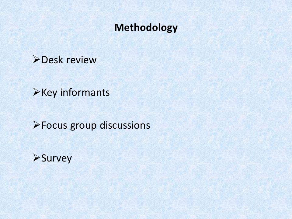Methodology  Desk review  Key informants  Focus group discussions  Survey