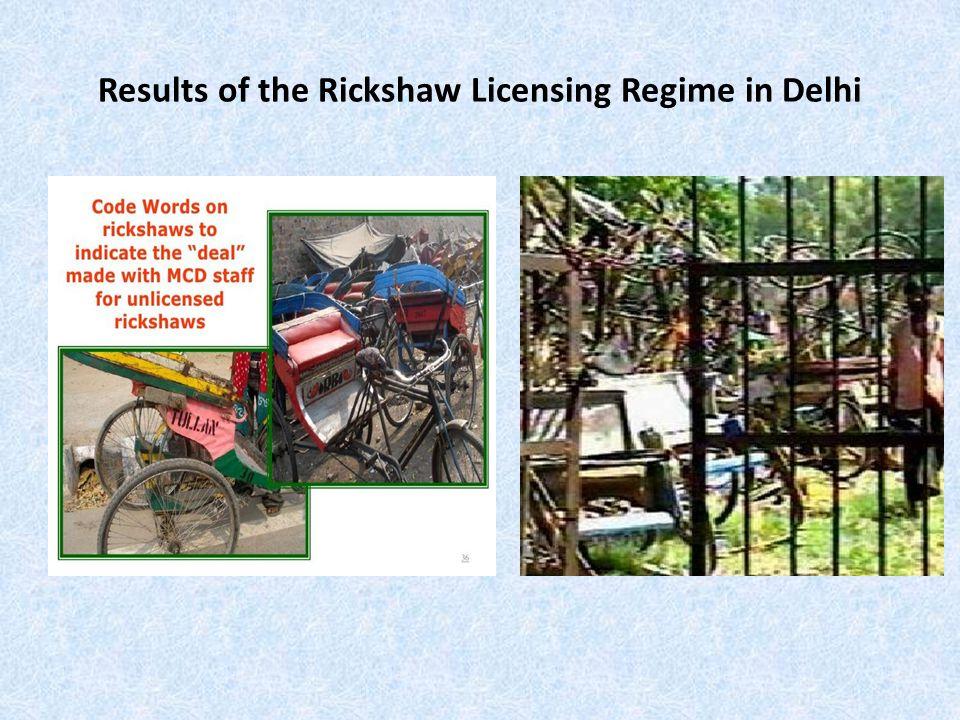 Results of the Rickshaw Licensing Regime in Delhi