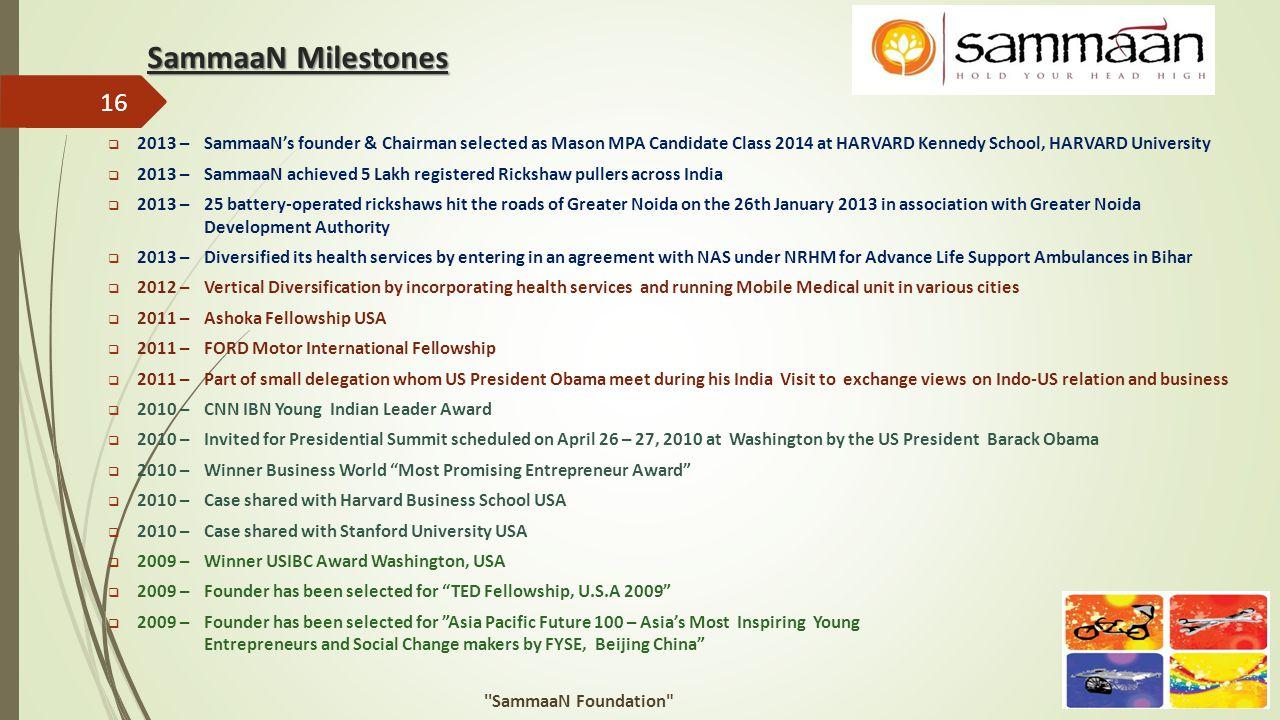 SammaaN Milestones  2013 –SammaaN's founder & Chairman selected as Mason MPA Candidate Class 2014 at HARVARD Kennedy School, HARVARD University  201