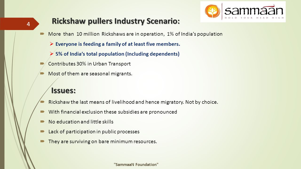 Rickshaw pullers Industry Scenario: Issues:  Rickshaw the last means of livelihood and hence migratory. Not by choice.  With financial exclusion the