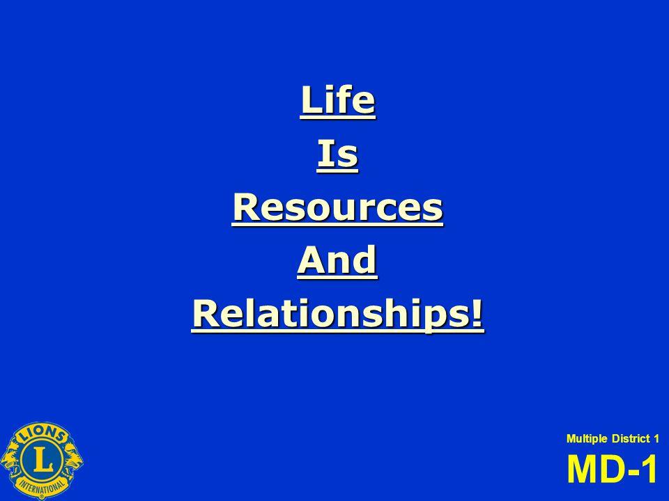 Multiple District 1 MD-1 LifeIsResourcesAndRelationships!
