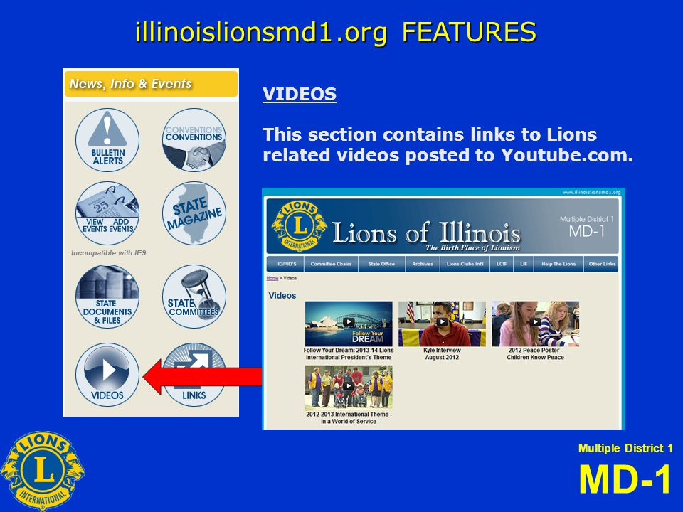 Multiple District 1 MD-1 illinoislionsmd1.org FEATURES VIDEOS This section contains links to Lions related videos posted to Youtube.com.