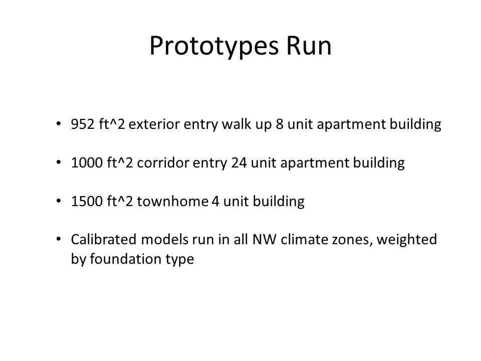 Prototypes Run 952 ft^2 exterior entry walk up 8 unit apartment building 1000 ft^2 corridor entry 24 unit apartment building 1500 ft^2 townhome 4 unit building Calibrated models run in all NW climate zones, weighted by foundation type