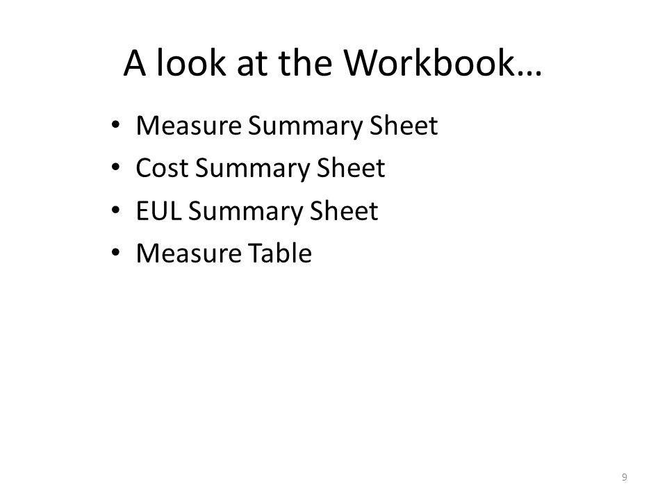 A look at the Workbook… Measure Summary Sheet Cost Summary Sheet EUL Summary Sheet Measure Table 9
