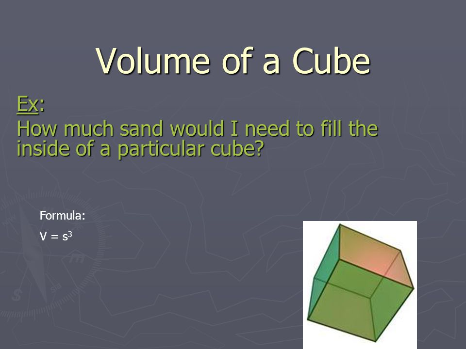 Volume of a Cube Ex: How much sand would I need to fill the inside of a particular cube? Formula: V = s 3