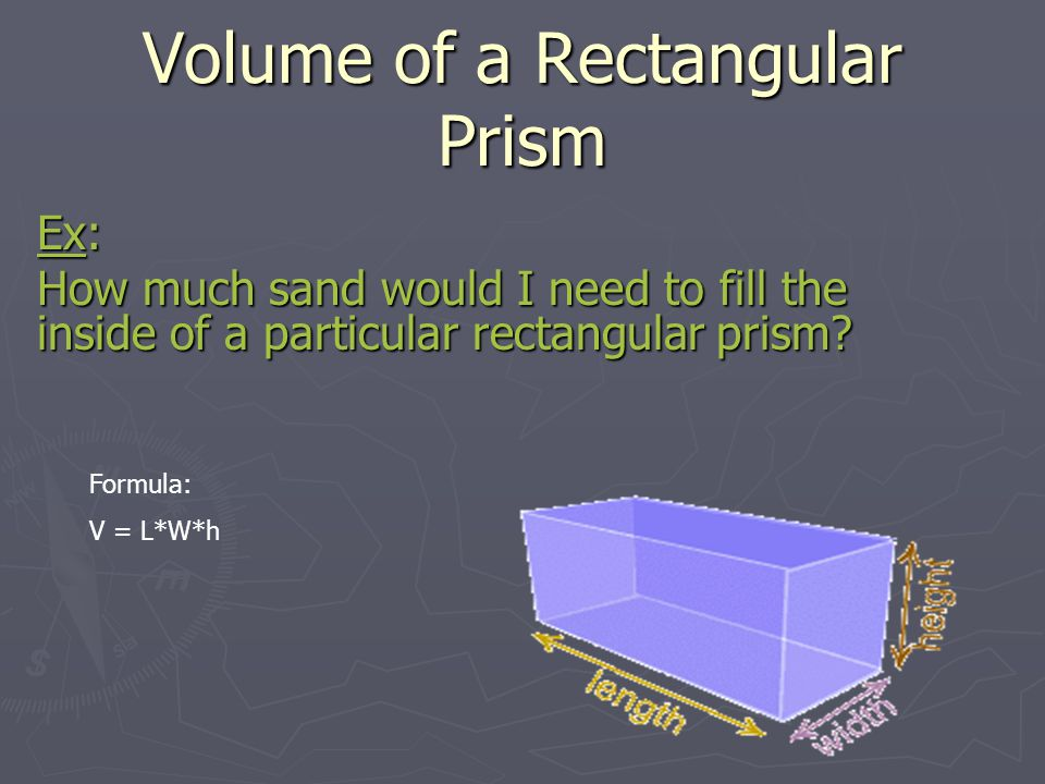 Volume of a Cube Ex: How much sand would I need to fill the inside of a particular cube.