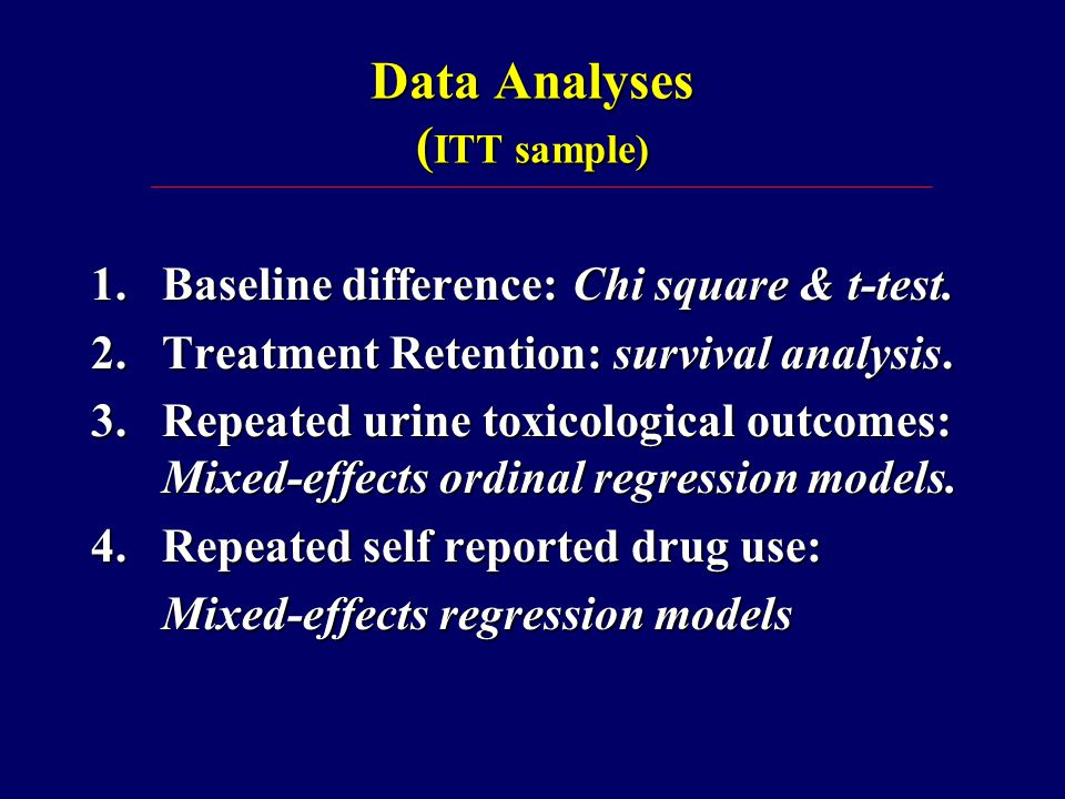 Data Analyses ( ITT sample) 1.Baseline difference: Chi square & t-test.