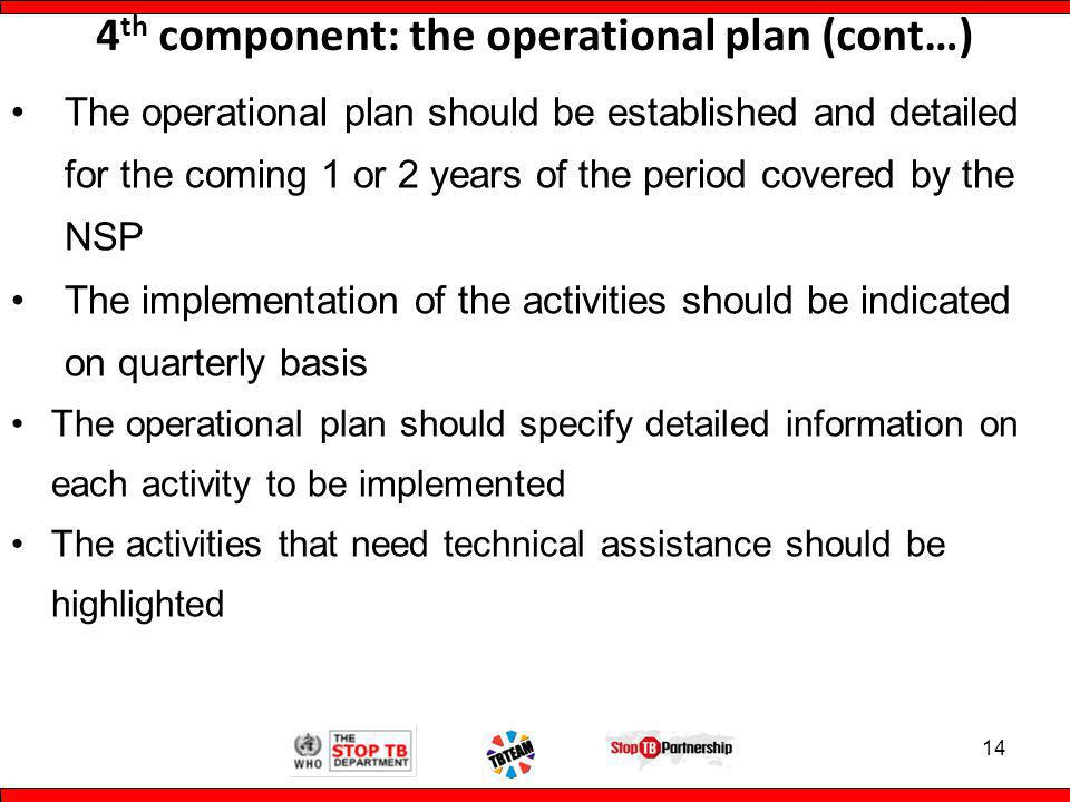 4 th component: the operational plan (cont…) The operational plan should be established and detailed for the coming 1 or 2 years of the period covered by the NSP The implementation of the activities should be indicated on quarterly basis The operational plan should specify detailed information on each activity to be implemented The activities that need technical assistance should be highlighted 14