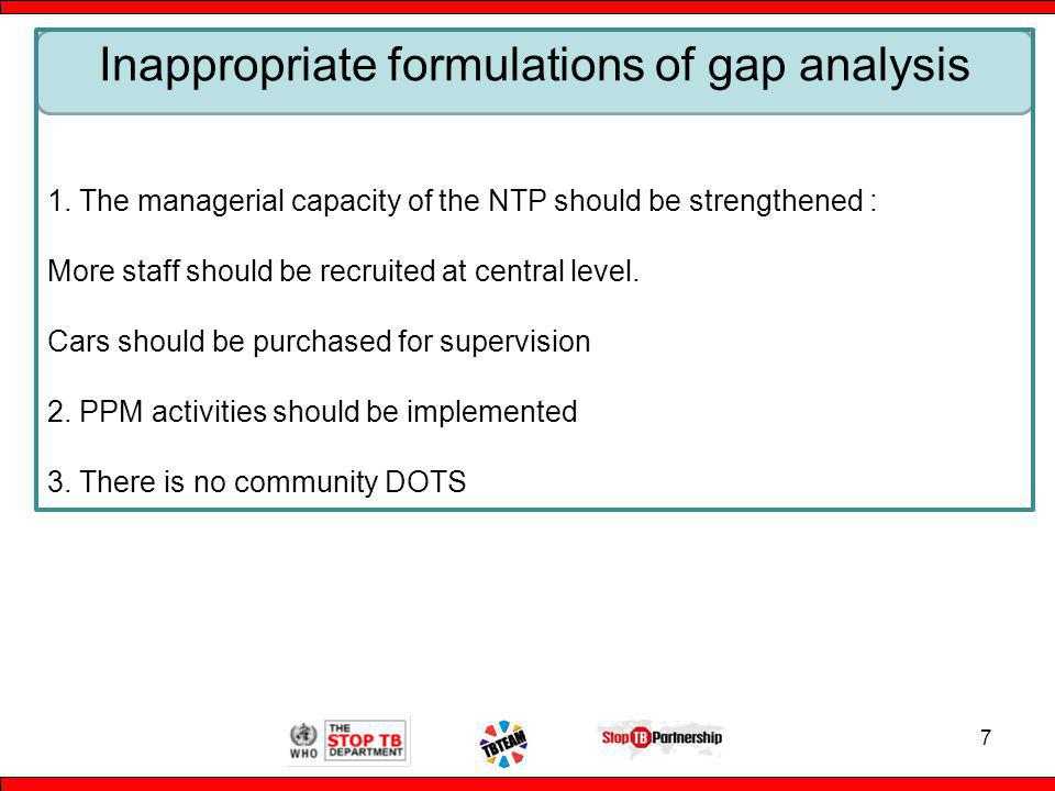 7 Inappropriate formulations of gap analysis 1.