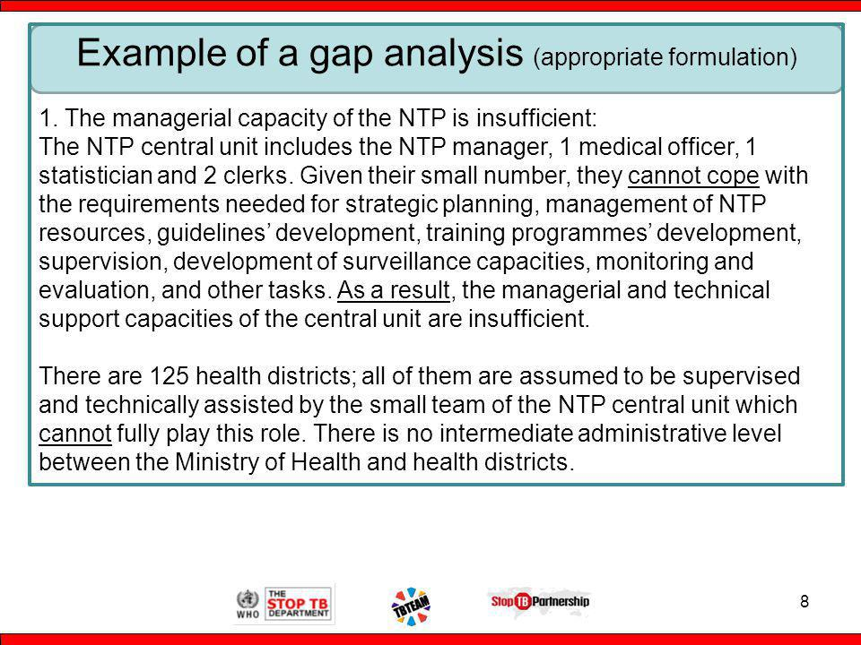 8 Example of a gap analysis (appropriate formulation) 1.
