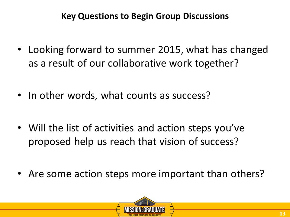 13 Key Questions to Begin Group Discussions Looking forward to summer 2015, what has changed as a result of our collaborative work together? In other