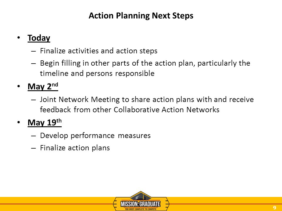 9 Action Planning Next Steps Today – Finalize activities and action steps – Begin filling in other parts of the action plan, particularly the timeline
