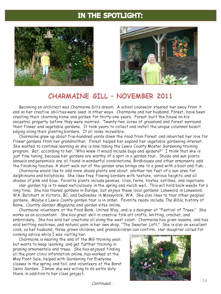 14 CHARMAINE GILL – NOVEMBER 2011 Becoming an architect was Charmaine Gill's dream.