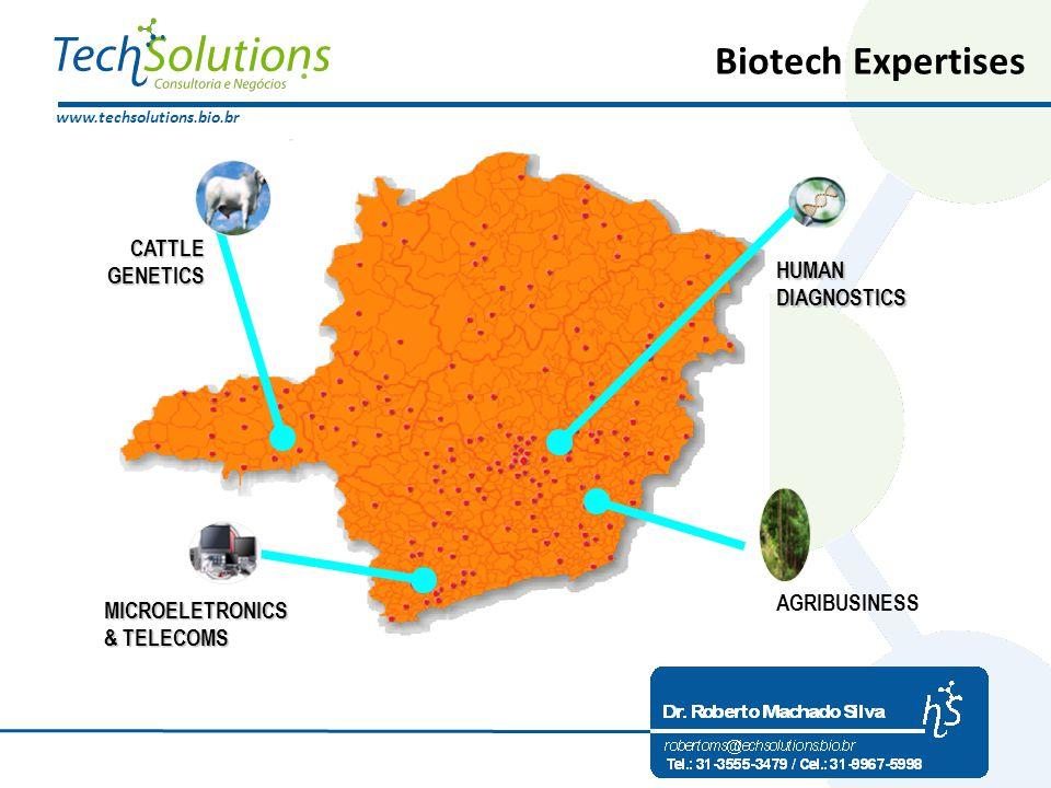www.techsolutions.bio.br Biotech Expertises HUMAN DIAGNOSTICS HUMAN DIAGNOSTICS MICROELETRONICS & TELECOMS & TELECOMS CATTLE GENETICS AGRIBUSINESS