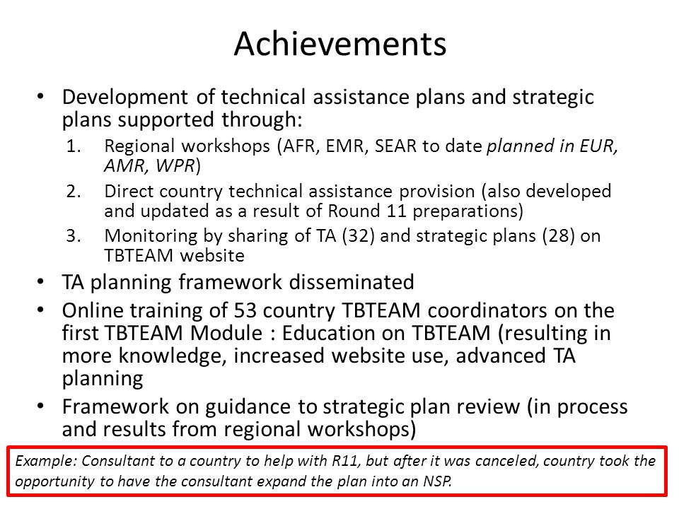 Achievements Development of technical assistance plans and strategic plans supported through: 1.Regional workshops (AFR, EMR, SEAR to date planned in EUR, AMR, WPR) 2.Direct country technical assistance provision (also developed and updated as a result of Round 11 preparations) 3.Monitoring by sharing of TA (32) and strategic plans (28) on TBTEAM website TA planning framework disseminated Online training of 53 country TBTEAM coordinators on the first TBTEAM Module : Education on TBTEAM (resulting in more knowledge, increased website use, advanced TA planning Framework on guidance to strategic plan review (in process and results from regional workshops) Example: Consultant to a country to help with R11, but after it was canceled, country took the opportunity to have the consultant expand the plan into an NSP.