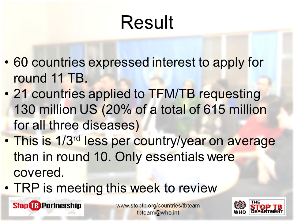 www.stoptb.org/countries/tbteam tbteam@who.int 60 countries expressed interest to apply for round 11 TB.