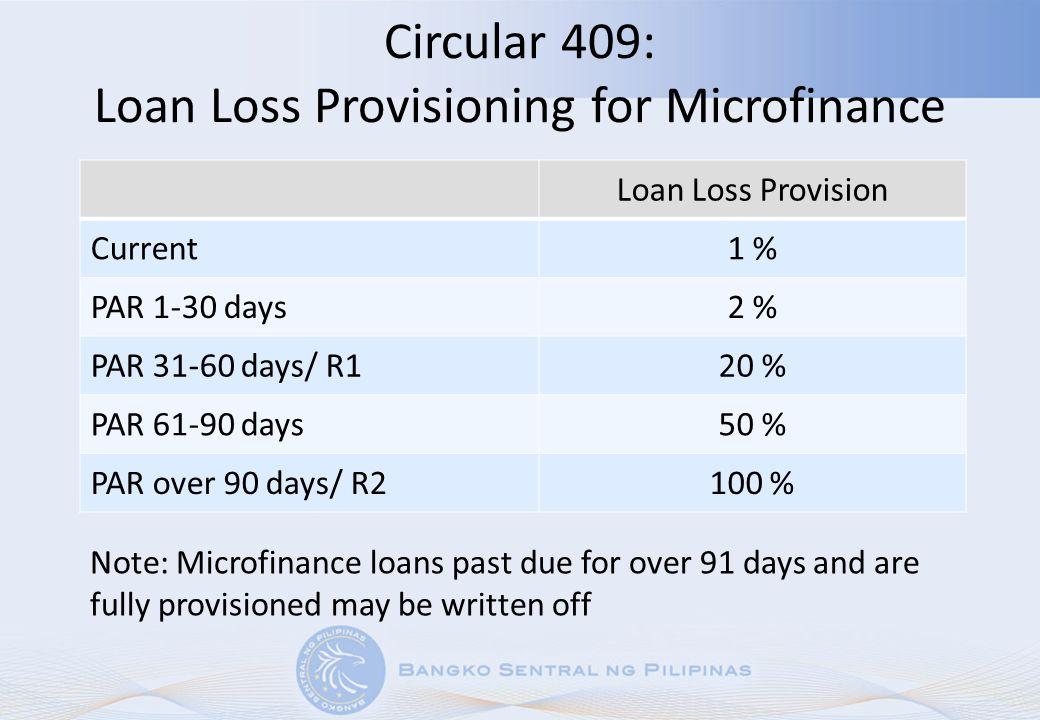 Circular 409: Loan Loss Provisioning for Microfinance Loan Loss Provision Current1 % PAR 1-30 days2 % PAR 31-60 days/ R120 % PAR 61-90 days50 % PAR ov