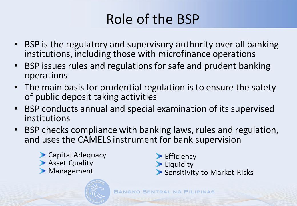 Role of the BSP BSP is the regulatory and supervisory authority over all banking institutions, including those with microfinance operations BSP issues