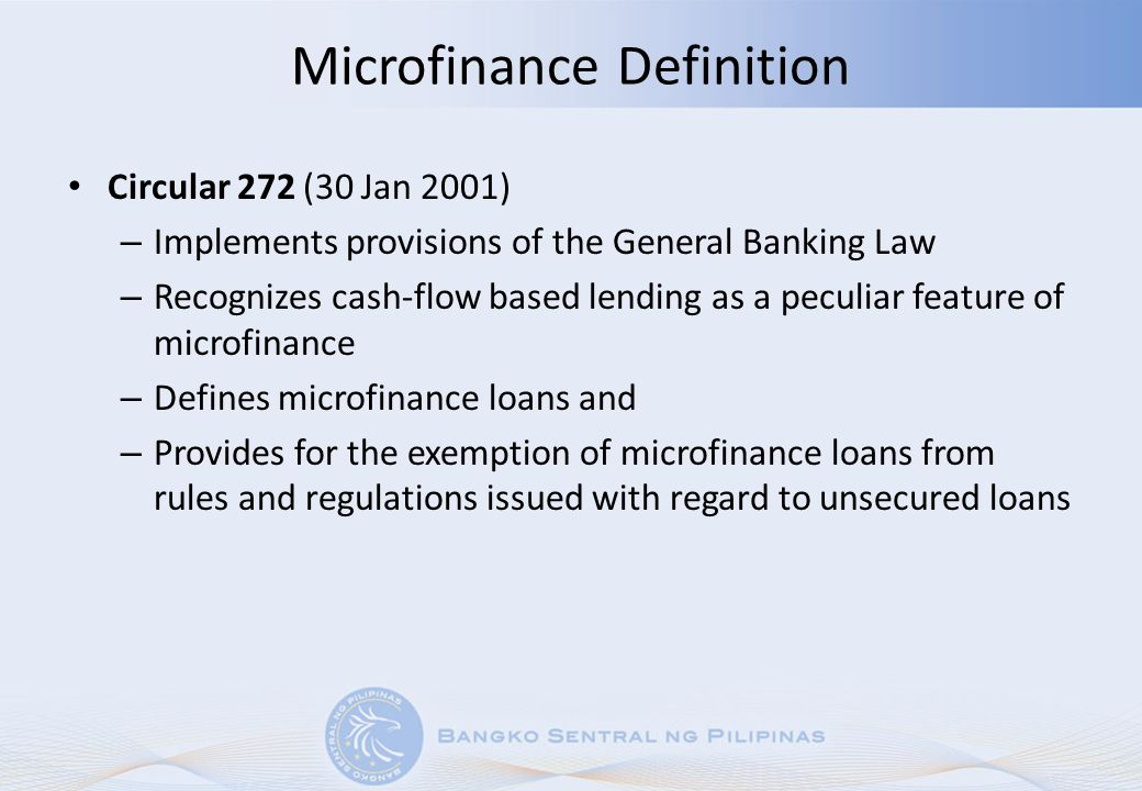 Circular 694: MBOs MBOs: primarily cater to banking needs of microfinance clients and overseas Filipinos (OFs) and their beneficiaries.